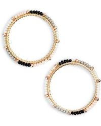 Rebecca Minkoff | Beaded Hoop Earrings | Lyst