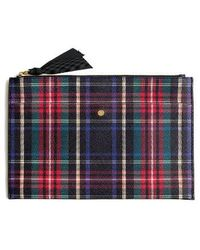 J.Crew | Large Stewart Plaid Italian Leather Pouch | Lyst