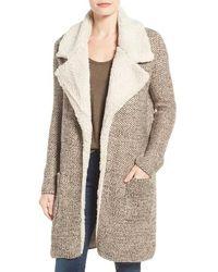 Dex - Faux Shearling Trim Notch Collar Jacket - Lyst