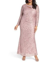 Marina | Sequin Lace Keyhole Gown | Lyst