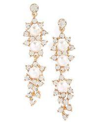 Tasha - Crystal & Imitation Pearl Drop Earrings - Lyst