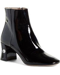 04c96ea17355b Miu Miu Jewel-Studded Block-Heel Ankle Boot in Black - Lyst