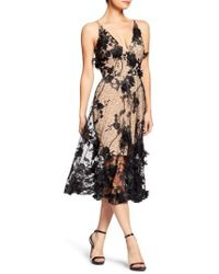 Dress the Population - Audrey Embroidered Fit & Flare Dress - Lyst