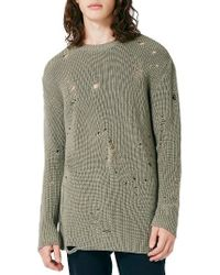 TOPMAN | Slim Fit Ripped Military Sweater | Lyst