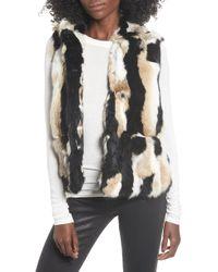Love Token - Genuine Rabbit Fur Hooded Vest - Lyst
