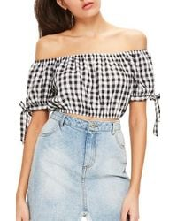 Missguided - Gingham Off The Shoulder Blouse - Lyst