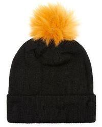TOPMAN   Knit Beanie With Faux Fur Pompom   Lyst