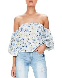 Missguided - Bardot Off The Shoulder Blouse - Lyst