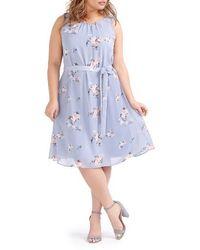 Michel Studio | Belted Floral Swing Dress | Lyst