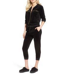 Juicy Couture - Velour Crop Track Jumpsuit - Lyst