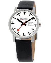 Mondaine - (evo)lution Date Leather Strap Watch - Lyst