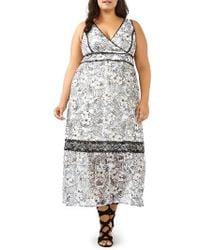 Michel Studio - Lace Applique Maxi Dress - Lyst