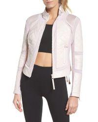 BLANC NOIR - Leather & Mesh Moto Jacket - Lyst