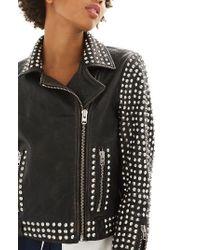 TOPSHOP - Frazey Stud Biker Leather Jacket - Lyst