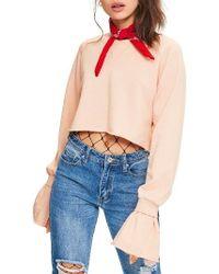 Missguided - Frill Cuff Crop Sweatshirt - Lyst