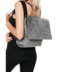 Missguided - Croc Embossed Velvet Backpack - Lyst