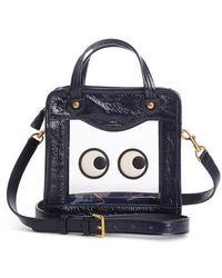 blue small Weather Rainy Day patent leather cross-body bag Anya Hindmarch 4XAifndO