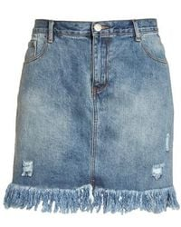 Glamorous - Distressed Cotton Denim Miniskirt - Lyst
