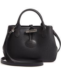5abc175da Longchamp Roseau Leather Crossbody Bag in Black - Save 33% - Lyst