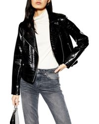 TOPSHOP - Croc Embossed Faux Leather Jacket - Lyst