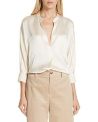 ec1e93a59bd722 Lyst - Vince Stretch Silk Split Neck Blouse in Natural