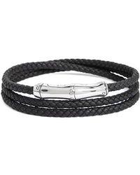 John Hardy - Bamboo Motif Leather Wrap Bracelet - Lyst