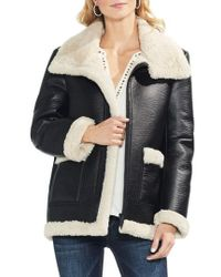 Vince Camuto - Faux Leather Shearling Coat - Lyst