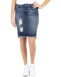 Kut From The Kloth | Ripped High/low Denim Skirt | Lyst