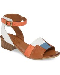 f368c7c77 Lyst - Tory Burch Colorblock Wooden-Wedge Leather Sandals