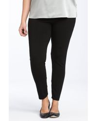0c70595c88de3 Lyst - Eileen Fisher Coated Denim Leggings in Black