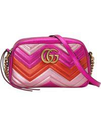 e8e3a8cb913 Gucci - Gg Marmont Small Matelassé Shoulder Bag Fuchsia - Lyst