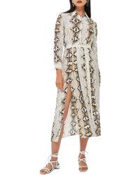 TOPSHOP - Snake Print Pleated Shirtdress - Lyst