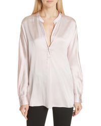 4ddb5d0f0f83b Lyst - Vince Silk Cap Sleeve Popover Blouse in White