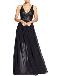 Dress the Population - Lori Sequin Plunging Chiffon Gown - Lyst
