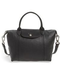Longchamp - Small 'le Pliage Cuir' Leather Top Handle Tote - Lyst