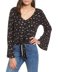 Love, Fire - Tie Front Bell Sleeve Blouse - Lyst