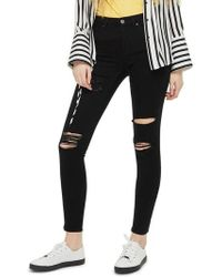 TOPSHOP - Moto Leigh Super Rip Jeans - Lyst