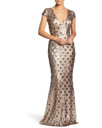 Dress the Population   Lina Patterned Sequin Trumpet Gown   Lyst