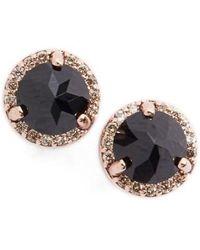 Anna Sheffield - Black Spinel & Champagne Diamond Rosette Stud Earrings - Lyst