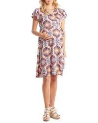 Everly Grey - 'kathy' Maternity/nursing Wrap Dress - Lyst