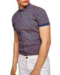 TOPMAN - Muscle Fit Eclectic Paisley Print Shirt - Lyst
