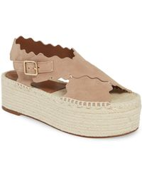 b81350a60f78 Lyst - Chloé Lauren Scalloped Leather Sandal in Natural