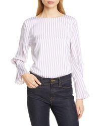 188ae618222f4f LEWIT - Gathered Sleeve Stretch Silk Top - Lyst