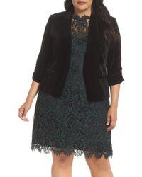 Eliza J - Ruched Sleeve Velvet Blazer - Lyst