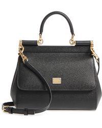 81c137fe4013 Lyst - Dolce   Gabbana Woven Raffia Miss Sicily Top Handle in Black