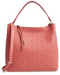 MCM - Klara Monogrammed Leather Hobo Bag - Coral - Lyst