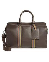Ted Baker - Geeves Stripe Leather Duffel Bag - Lyst