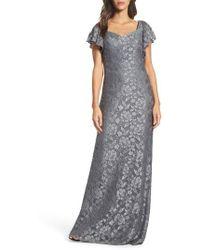 La Femme - Flutter Sleeve Lace Gown - Lyst