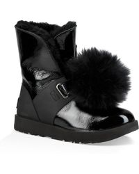 UGG - Ugg Isley Genuine Shearling Waterproof Patent Pom Bootie - Lyst