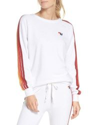 Aviator Nation - Stripe Sleeve Sweatshirt - Lyst